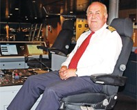 Roger Corfield, Captain of the Harwich-Hook of Holland superferry Stena Britannica