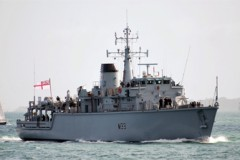 RETURNNG HOME: HMS Brocklesby Arrives In Grimsby