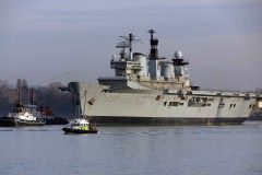 Former aircraft carrier Illustrious departs Portsmouth for last time