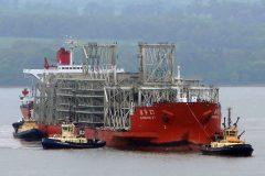 The ships helping with the new bridge over the Forth near Edinburgh