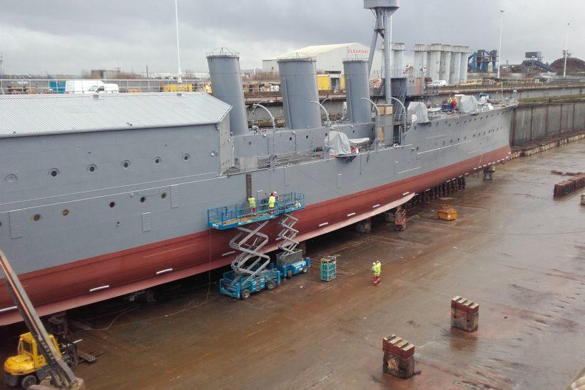 HMS Caroline repairs undertaken in Belast