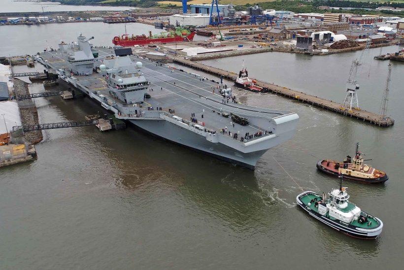 HMS Queen Elizabeth departs on maiden voyage