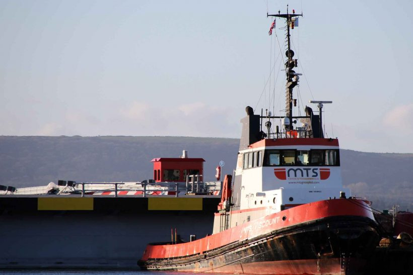 Tug and new linkspan shelter at Poole
