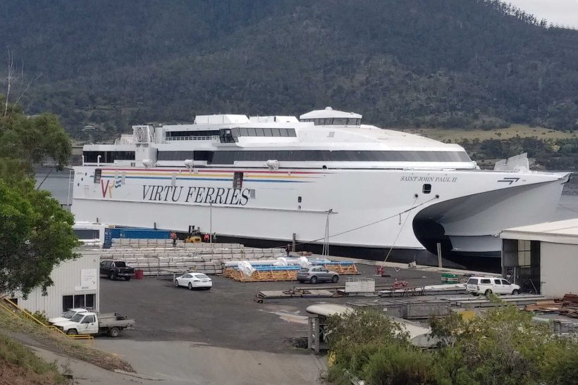 Incat Tasmania launches Virtu Ferries 110m ship Saint John Paul II