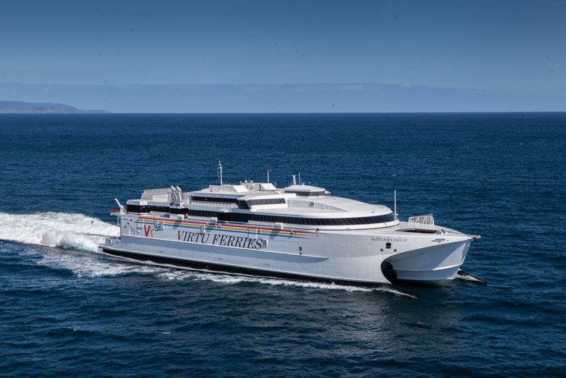 Incat delivers large new fast ferry to Virtu Ferries of Malta