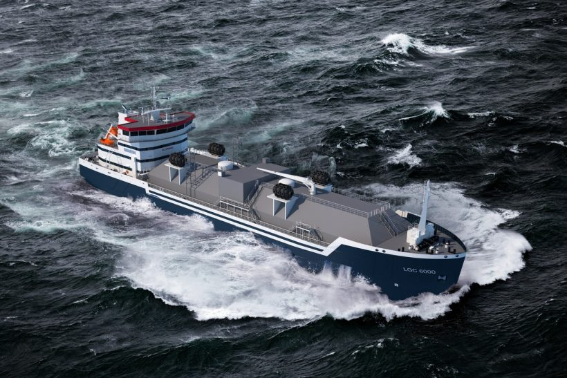 Steel cut for  short-sea LNG bunker vessel