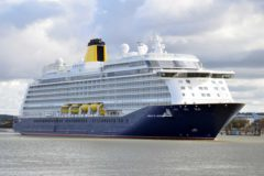 Saga Cruises newest ship Spirit of Adventure arrives at Tilbury in Essex