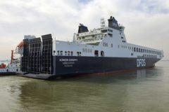 New DFDS freight ferry Scandia Seaways heads for Europe
