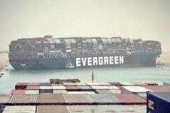 Suez Canal blocked by grounded Evergreen containership