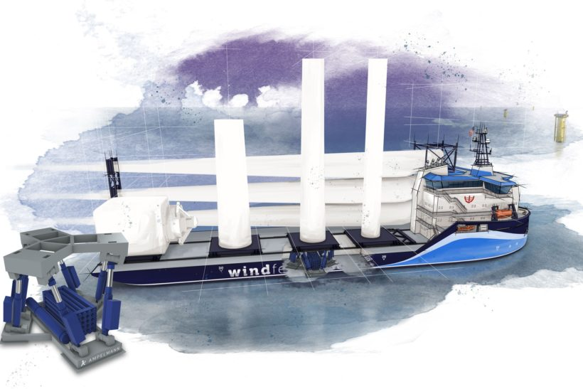Offshore wind feeder vessel design by Ampelmann and C-Job Naval Architects