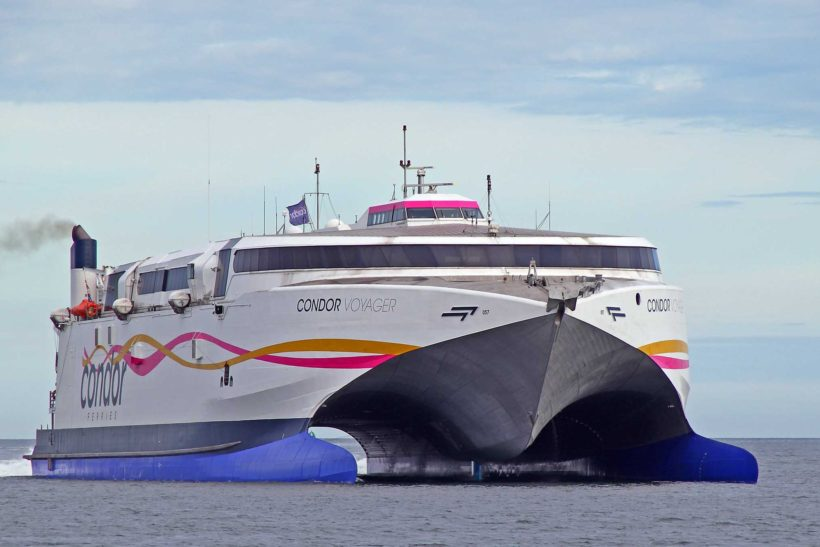 Condor Ferries newly named ship Condor Voyager arrives in Poole