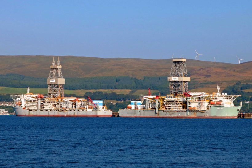 Two drilling ships remain idle of Peelport Hunterston Iron Oil Terminal