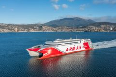 Incat delivers second 111m catamaran to Naviera Armas